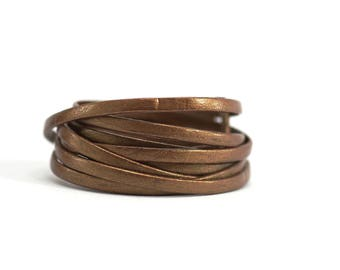 Lace / cord / leather flat - width 3 mm / Ep. : 1 mm - Bronze color cord of leather (sold by the yard)