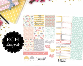 April Rain Planner sticker kit, EC Horizontal/Vertical Planner Stickers, Happy Planner vertical