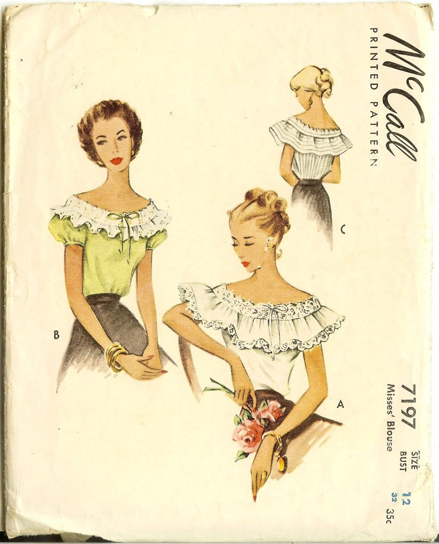 1940er Jahre Romantische Bluse Carmenbluse Schnittmuster McCall 7197 ...
