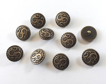 20x Antique Symbol Bronze Shank Vintage Hole Buttons 25x25mm