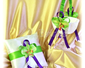 Wedding basket and pillow, purple and green ring bearer pillow and flower girl basket set