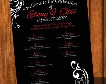 Formal Wedding Seating Sign / Formal Wedding Design / Seating Sign 16x20 / Formal / Red and Black Wedding