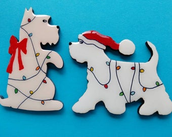 Westie Christmas Pin, Magnet or Ornament-Free Shipping-Hand Painted-West Highland Terrier- Two Westie Styles- Free Personalization