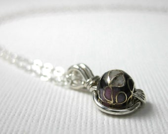 Cloisonne O Loop Pendant Necklace in Sterling Silver