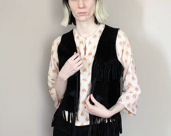 Vintage 1970's 'Stars & Stripes' Black Suede Fringed Vest/Waistcoat - Extra Small/Small