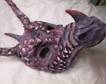 Dragon mask, Masquerade, costume mask, handmade, hand painted, cosplay mask, spikes, horned dragon, made to order, dragon mask