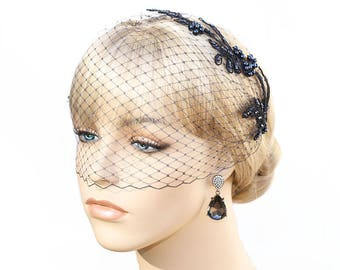 Dark Blue Birdcage Veil With Lace Navy Blue Bridal Bridesmaid Wedding Special Occasion Hair Accessory