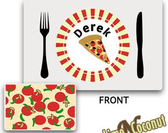 Kids Pizza PLACEMAT, Customized Dinnerware, Kids Tableware, Place Setting, Kids Place Mat Dinnerware, Childrens Placemat, Personalized Mat