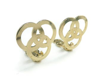 Vintage Three Ring Earrings, Gold Tone, Clip Ons, STP51