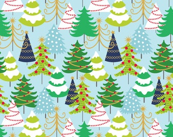 Snowflake Waltz - Grand Firs in Blue by Maude Asbury for Blend Fabrics