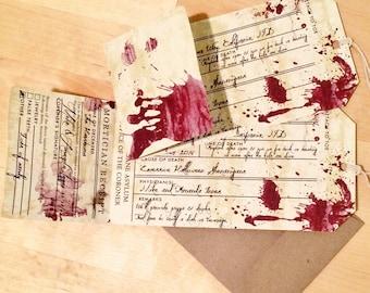 Vintage Corpse Toe Tag Morgue Halloween Party Invitation
