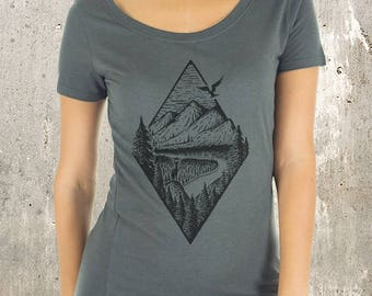 Women's Organic Scoop Neck T-Shirt - Rivers Mountains Forest  - Women's Viscose Bamboo and Organic Cotton Tee