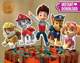 Paw Patrol Centerpieces - INSTANT DOWNLOAD Printable Centerpieces Cake Deco - Chase Skye Rubble Marshall