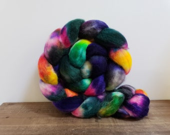 Superwash Bfl- bluefaced leicester- combed- wool top- roving- 4oz- Hand Painted-Hand Dyed- Fairies Dancing in the Dark