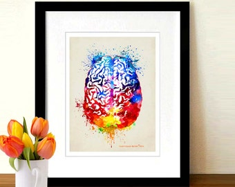 "Watercolor Brain, 8.5"" x 11"", Anatomy Medical print, Neurologist Gift, Nurse gift, Neurosurgeon gift, Psychologist gift, Brain print"