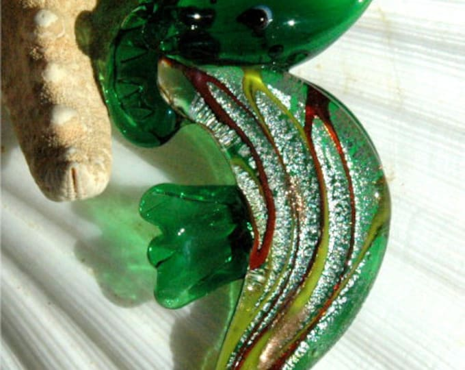 Green Glass Seahorse Necklace