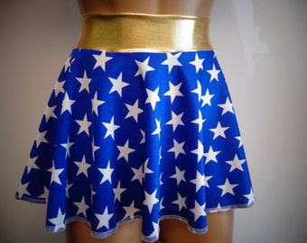 Wonder Woman Circle Skirt w/Gold Metallic Waistband Mini Skirt Cosplay Comic Con Costume Custom Dance Rave EDC