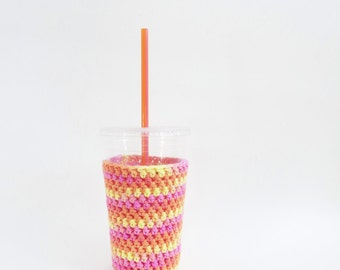 iced coffee cozy. Crochet coffee cozy. pink cup cozy. Cotton cup sleeve. Eco friendly cup jacket. Summer drink cozy. Orange Yellow cozy.