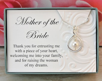 Mother of the Bride necklace gift from Groom Sterling silver infinity necklace Swarovski crystal pearl wedding necklaces, wedding jewelry