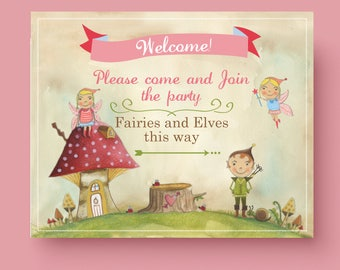 Printable WELCOME SIGN for Woodland Fairies and Elves - 8 x 10 Custom Welcome Sign fairy and elf