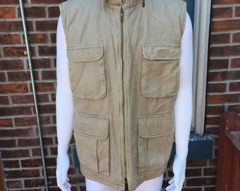 St. Johns Bay cold weather vest pockets galore flannel lined buckles for days small fishing vest