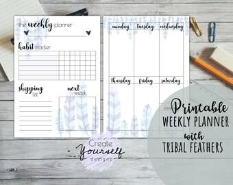 Printable weekly planner, printable weekly planner pages, printable planner pages, weekly planner insert, watercolor planner