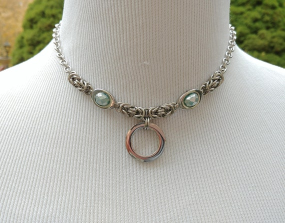 24/7 Wear Discreet Symbolic O Ring Day Collar Necklace, BDSM Submissive Slave Collar, Stainless Steel Chain/Maille Collar Aqua Mercury Bead