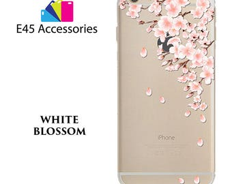 WHITE BLOSSOM Floral Flower Hard Case for iPhone 5S 5 SE, iPhone 6S 6 or iPhone 7