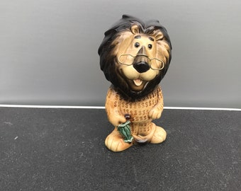 Lion Bank by Lefton Animal Figurine Child's Bank Lion Named Hubert By The Harris Banks A Advertising Premium