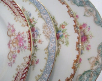 Vintage Mismatched China Dessert Plates, Bread Plates for Tea Party, Bridal Luncheon, Showers, Hostess Gift, Bridesmaid Gift-Set of 4