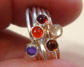 5 Ring stack delicate sterling silver/14k GF-Size 4.5 ruby red, orange, purple amethyst, golden topaz, and white topaz 3mm * CLEARANCE SALE