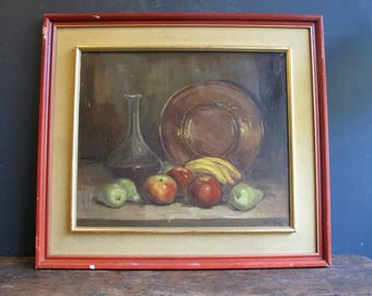 Vintage 1970s Spanish Still Life by Roger Vegarano Fruit Oil on Canvas Painting