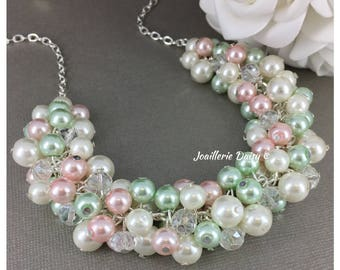 Mint and Pink Pearl Cluster Necklace Mint Necklace Spring Mint Wedding Bridesmaid Gift Pink Necklace Wedding Gift for Her Maid of Honor