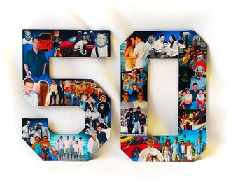 50th Birthday, Photo Collage for Him, Photomontage for Car Enthusiast, 50th Anniversary Gift ,Custom Photo Gift