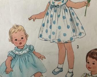 "Sewing Pattern, Girls  dress pattern, Vintage  Pattern,  sewing pattern, toddler dress,  Size 1  breast 20"""
