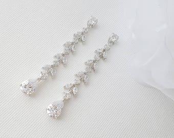 Bridal Earrings, Long Crystal Earrings, Marquise Crystals, Leaf Earrings, Rose Gold, Gold, Wedding Earrings, Bridal jewelry, Katie