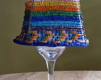 Multi Colored Silver Lined Beaded Lampshade/Beaded Lampshade/Home Decor/ Lighting/Beaded
