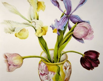 Irises and tulips in painted porcelain vase