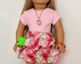 18 inch Doll Clothing fits American Girl Doll - 7 piece outfit includes shoes