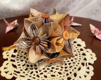 Antique Origami Kusudama Flower Ball