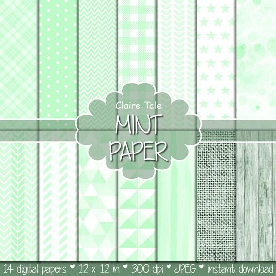 Mint digital patterns, Mint printable invitation paper, Mint party digital background, Digital mint scrapbook paper, Mint scrapbook pattern