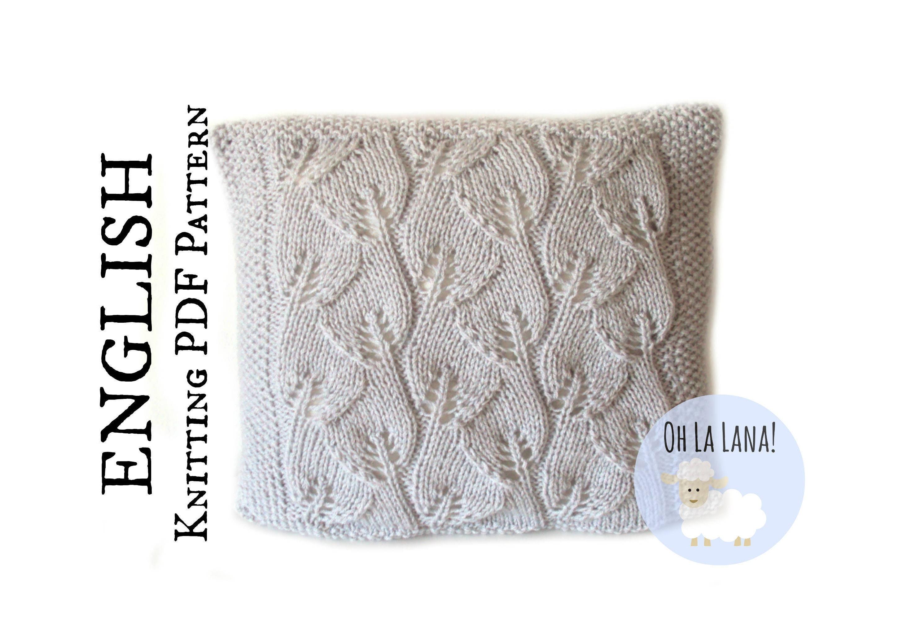 KNITTING PATTERN Leaves pillow cover, pillow knitting pattern ...