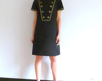 Dress in black jean trapeze