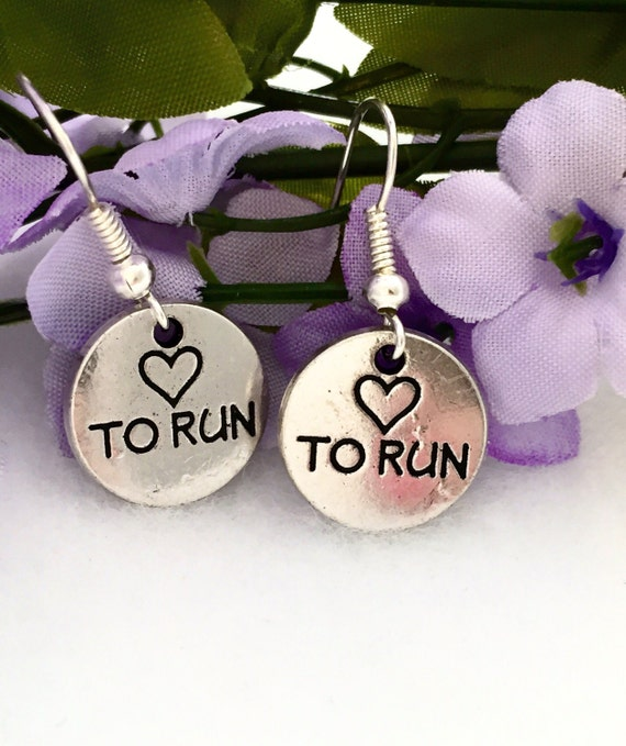 Love To Run Earrings, Runner Gifts, Running Charms, Marathon Jewelry, Fitness Gifts, Cross Country Jewelry, Heart Running Jewelry, Run Charm