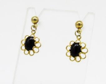 Vintage 1970's Black Onyx Earrings