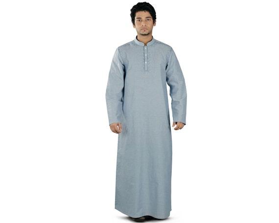 MyBatua Emran Navy Blue Galabiyya GM-016, Thobe, Daffah,Islamic Men Clothing, Stylish Modern Kurta, Poplin Fabric 100% Cotton