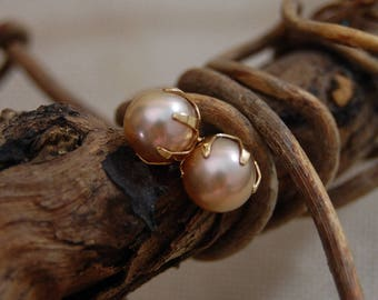 Maia - OOAK earrings, rare natural pearl, pastel pearls, stud earrings, freshwater pearls, youth jewelry, womens jewelry, gift for her