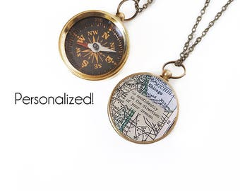 Large Custom Map Compass Necklace Personalized Quote, Working Compass, Graduation Gift, Home State Gifts, Moving, Inspirational, Travel