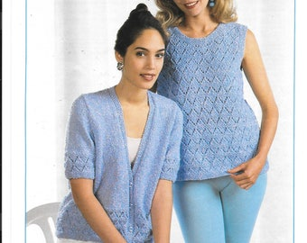 Pretty ladies double knit pattern for short sleeved cardigan and no sleeve jumper / sweater PDF pattern