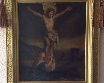 Sale Antique Italian Flemish Oil Painting ca.17th C. Old Master Crucifixion of Christ O/C Framed